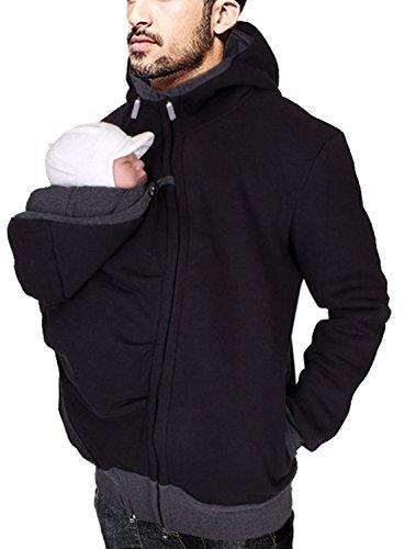 Turbomsun Homme Sweat À Capuche 3 en 1 Papa Maternité Pull Molletonné Bébé Écharpe Automne Hiver de Portage Zipper Blouson Grossesse Panneau Amovible.