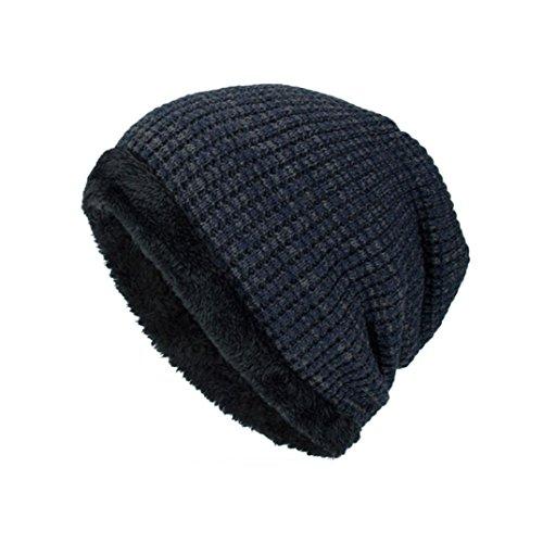 Bomber Classic Hut (Sansee Männer Winter Outdoor Wolle Stricken warme Mütze Dicke Soft Beanie Ski CapsKappe Mütze Kopfbedeckung (Marine, H-132))