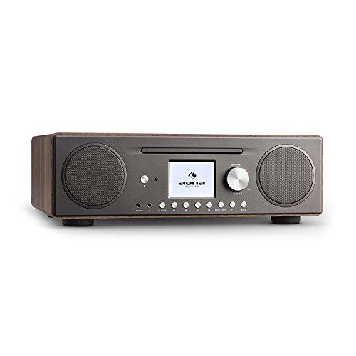 auna Connect CD Radio de Internet • Reproductor de CD-MP3 • Dispositivo Digital Dab/Dab+ • Interfaz WLAN • Spotify Connect • Bluetooth • Sintonizador de Radio FM con RDS • AUX • USB • Nogal