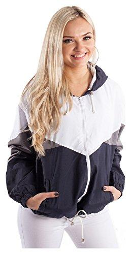 Blouson Damen Übergangsjacke Windbreaker Jacke Kapuzenjacke Colorblock Schwarz M