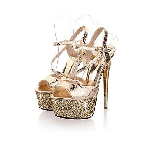 Women's Fashion Glitter Buckle High Heels Platform Party Sandals Gold / US 8