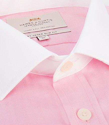 Hawes & Curtis Herren Business Hemd Slim Fit Kontrastdetails Umschlagmanschette Rosa
