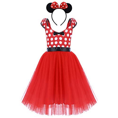 OBEEII Säuglings Kleinkind Baby Mädchen Prinzessin Tüll Kleid Polka Dot Ballettkeider Trikot Tanzkleider Weihnachten Karneval Cosplay Kleid mit Maus Ohren Bowknot Partykleid Outfits 4-5 Jahre Rot