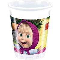 Procos 86513-Vasos de plástico de «Masha y el Oso», de 200ml, 8unidades, multicolor