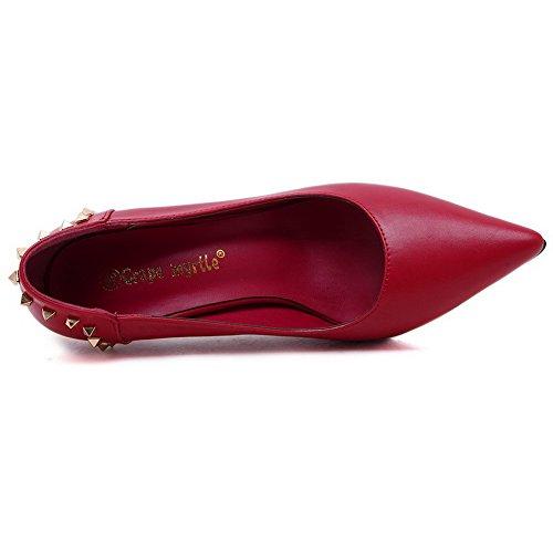 AalarDom Femme Dépolissement Stylet Pointu Tire Chaussures Légeres Rouge-8CM