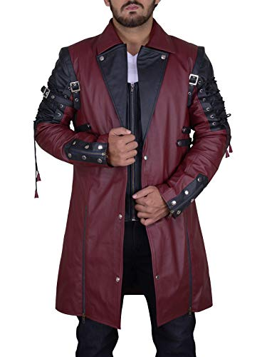 Trench Leder (TrendHoop Steampunk Herren Gothic Trench PU Leder Jacke Mantel Goth Punk Coat Größe XS Kastanienbraun - Braun - X-Klein)