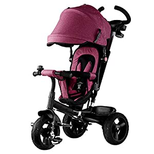 GSDZSY - 4 In 1 Kids Tricycle 3 Wheel Bike Baby Stroller, Foldable With Removable Push Handle Bar, Non-inflatable Rubber Wheel,Adjustable Awning, 1-5 Years,A   2