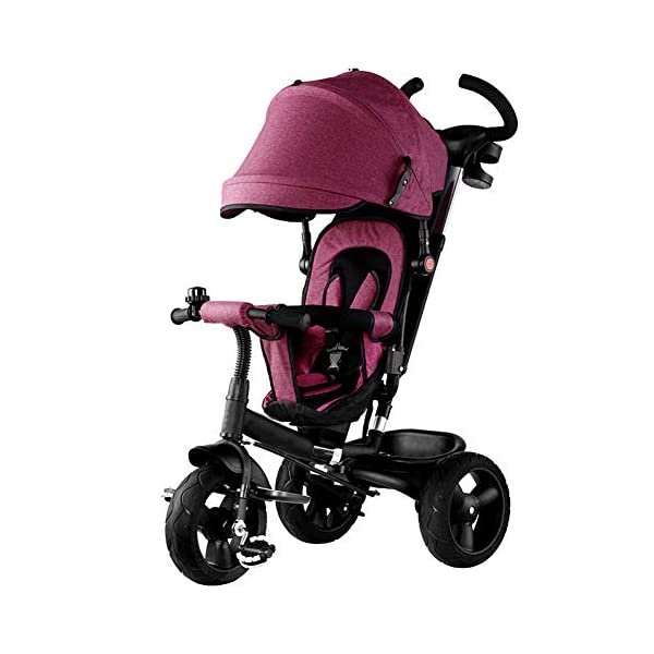 GSDZSY - 4 In 1 Kids Tricycle 3 Wheel Bike Baby Stroller, Foldable With Removable Push Handle Bar, Non-inflatable Rubber Wheel,Adjustable Awning, 1-5 Years,A GSDZSY ❀ Material: high carbon steel + ABS + rubber wheel (non-inflated) ❀ Features: Tricycle can be folded, push rod can be adjusted height, suitable for people of different heights; seat can be adjusted, parasol can be adjusted, suitable for different weather, rear wheel with brake ❀ Performance: high carbon steel frame, strong and strong bearing capacity; rubber wheel anti-skid and wear-resistant, suitable for all kinds of road conditions, good shock absorption, seat with breathable fabric, baby ride more comfortable 1