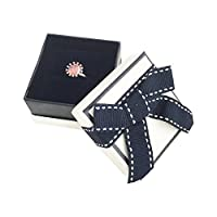Svea Display Set of 4 PCs Pretty Blue Ribbon Ring Packaging Boxes Unique Design Jewely Gift Present (Single Ring)