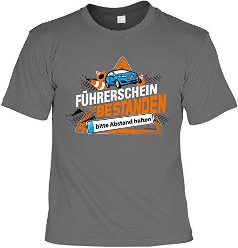 Fun Shirt mit lustigem Motiv: Führerschein bestanden, bitte Abstand halten - Mit gratis Urkunde - Geschenk - Geburtstag - anthrazit Anthrazit