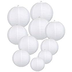 LIHAO weiße Papier Laterne Lampions rund Lampenschirm Hochtzeit Dekoration Papierlaterne - (10er Packung) (verschiedene Größen)