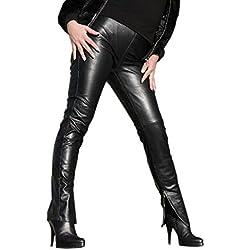 Pantalones largos de piel con cremallera en los fesseln. CHIC y elegante. Modelo S29 negro Medium