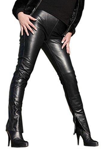 Lange Lederhose mit Reißverschluss an den Fesseln. Chic und elegant. Gr. L/16 Modell S29