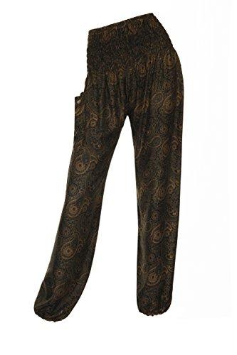 ThaiUK Damen Hose Paisley Dark Brown (Brown-streifen-hose)
