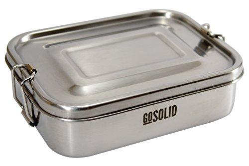 GoSolid Brotdose aus Edelstahl, 1 Fach, 750ml, Metall gebürstet | Vesperbox | Lunchbox | Bento Box
