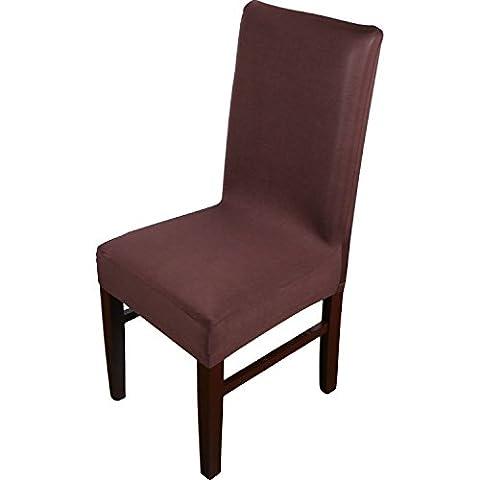 Knit Spandex Tissu stretch Chaise de salle à manger Housses Lot de 4Marron