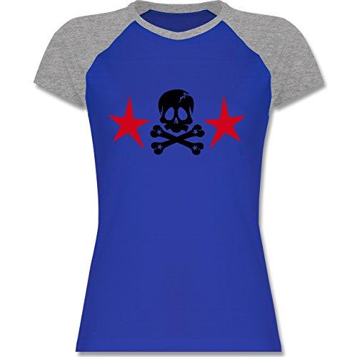 ... Damen Royalblau/Grau meliert. Shirtracer Piraten & Totenkopf - Totenkopf  mit Sternen - Zweifarbiges Baseballshirt/Raglan T-Shirt