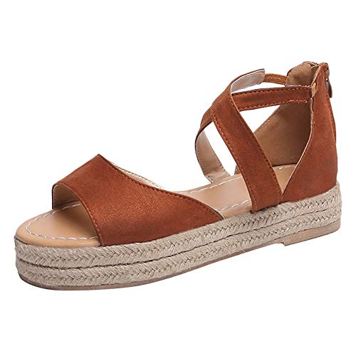 Fenverk Damen Keilsandalen Sommer Keil Peeptoe Fesselriemen Schnalle Sandaletten Elegant Flatform Schuhe Schwarz, Braun, Pink 35-43 EU(Braun A,43 EU)