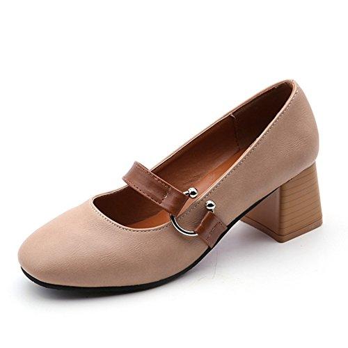 Nude schuhe,cute little fresh dick heels,flacher mund oma schuhe,mary jane's schuhe-A (Lady Schuhe Jane Adult)