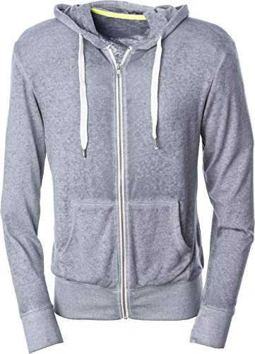 Mivaro Herren Sweatjacke, leichte Sweatshirt-Jacke aus dünnem Stoff, graues Zip Hoodie mit Kapuze, Größe:S, Farbe:Grau -
