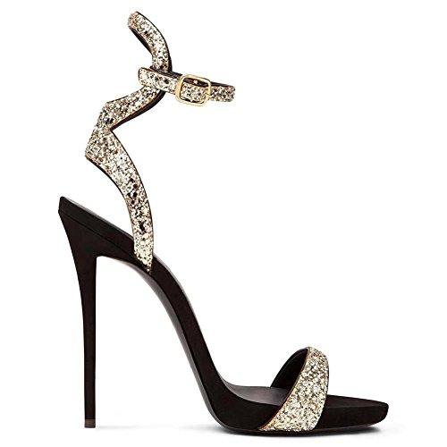 Donna Sexy Caviglia Cinghia Le signore Sbirciare Dito del piede Stiletto alto Tacco Nero sandali Scarpe Festa Vestito Discoteca 2