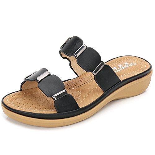 JITIAN Damen Casual Slides Sandalen Open-Toe Sommer Flat Slip auf Strand - Frauen Erde-schuh-sandalen