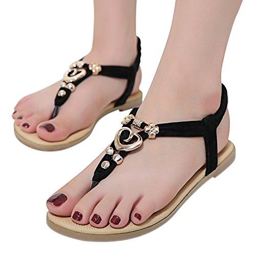 ZOEREA delle ragazze delle signore di estate delle donne piatto Infradito sandali merletto in rilievo scarpe piatte Open Toe ragazza delle donne Scarpe casual 2017 nuovo - nero