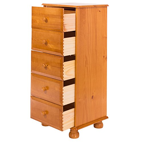 Core Products Five Drawer Narrow Chest, Antique Honey Tinted Lacquer