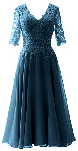 MACloth Elegant V Neck Mother of the Bride Dress Lace Formal Party Evening Gown Teal