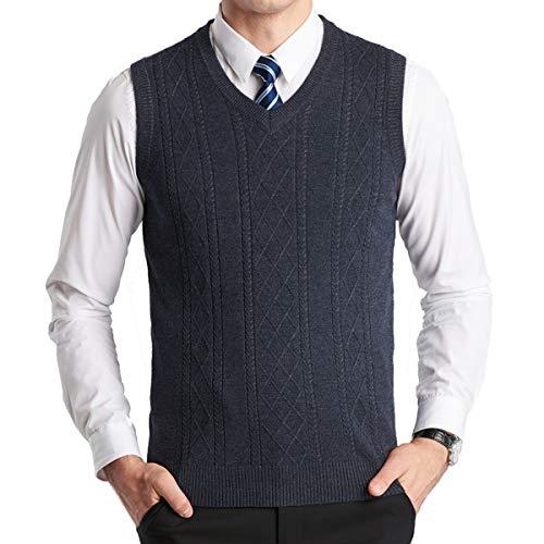 YinQ Herren West Ärmellose Pullunder Strickweste V-Ausschnitt Einfarbig Wollweste für Männer (M, Holzkohle) -