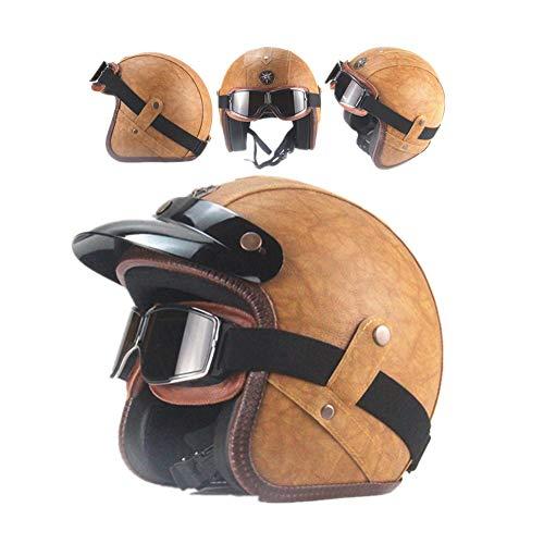 Jet-Helm Herren Retro Cruiser Biker Motorrad-Helm mit Schutz-Brille, Erwachsene Jethelm Vintage Handgefertigte Leder Scooter-Helm Roller Motocrosshelm für Männer Damen, Klassisches Braun,L