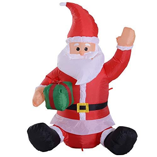 a8f418493cdcd Homcom Papá Noel Hinchable 1.2m Santa Claus Inflable con Regalo Decoración  Navidad Iluminación LED con