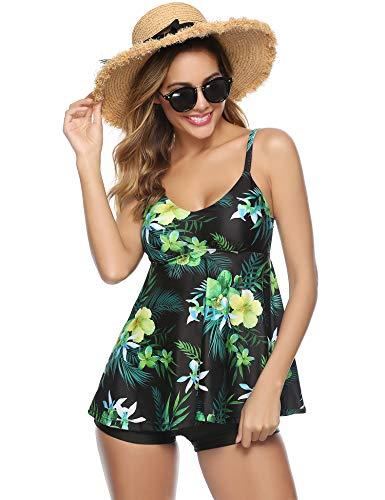 Abollria Damen Tankini Set Bauchweg Zweiteiler Push Up Badeanzug mit Shorts Elegant Monokini mit Verstellbare Träger Bademode für Urlaub -
