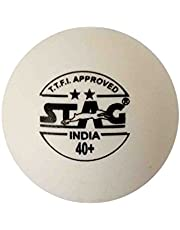 Stag Two Star Plastic Table Tennis Ball, 40mm Pack of 6 (White)