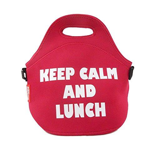 Rote Picknicktasche Neopren-Tasche Lunchtasche Einkaufstasche Waschbar 30 x 30 cm Tragetasche (Umhängetasche, Ausflugstasche, Picknick, Camping-Tasche, Lunchbeutel, Einkaufsbeutel)