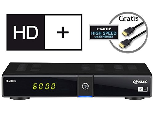 Comag 61014 SL 65 digitaler Satelliten-Receiver (PVR Ready, Upscaler Full HD, HDTV, USB 2.0) inkl. HD+ Karte für 6 Monate, High Speed HDMI Kabel schwarz