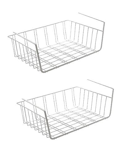 Set 2x bajo mesa estante almacenamiento cesta malla