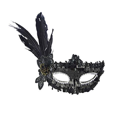 FORH Damen Elegante Maske Exquisiten venezianischen Stil Sexy Feather Pailletten Augenmaske Maskerade Cosplay Maske für ()