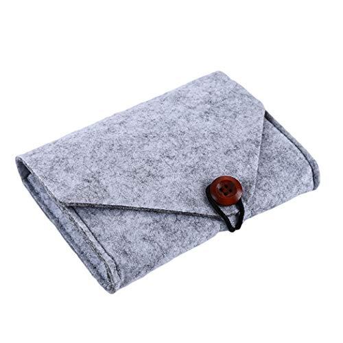 Buelgma Mini Geldbörse Einfacher Filz Bargeld Ändern Karte Handy Ladegerät Aufbewahrungstasche Geld Tasche Für Männer Frauen (Hellgrau) -