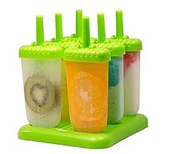 Idea Regalo - HelpCuisine Stampi ghiaccioli - Stampi per Gelati Realizzati in plastica di Alta qualità priva di BPA e Approvata dalla FDA, Ideale per la Preparazione di ghiaccioli, Gelati, sorbetti,(Verde)
