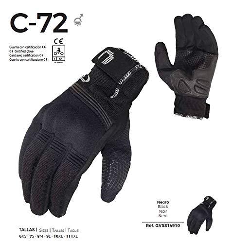 -UNIK- C-72 Guanti estivi per moto con tessuto ventilato. Colore: nero. Omologati. M Nero ros