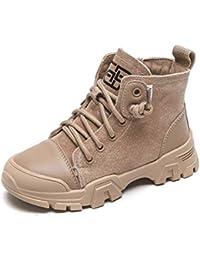 Girl Martin Botas otoño e Invierno cómodo Cuero Corto Felpa Antideslizante Resistente al Desgaste Zapatos Planos de Encaje Delantero con Cremallera de los Zapatos Estudiantes