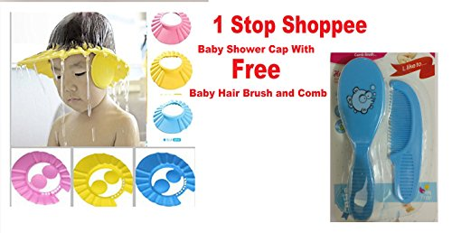 1 Stop Shoppee Foam Baby Shower Soft Cap Hat Compatible With Baby With Adjustable Button With Free Baby Hair Brush And Comb