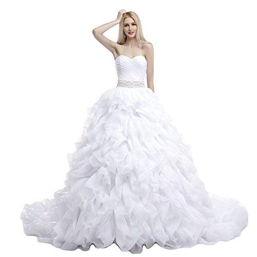 Engerla lo strato, da donna, con cuori, in organza abito da sposa abito palla bianco 34