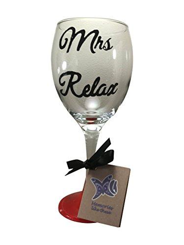Frau Relax Hand bemalte Weinglas 340ml schwarz Script rot Boden (Von Bemalt Hand Weingläser)