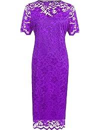 WearAll - Grande taille dentelle doublé midi-robe moulante à manches courts - Robes - Femmes - Tailles 42 à 56