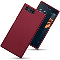 Sony Xperia X Compact Cases - [Tempered Glass Screen Protector] and Matte Red Silicone Gel Cover Design Protective Shockproof Soft TPU Back Bumper Case For Sony Xperia X Compact The Keep Talking Shop