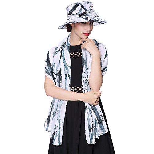 June's young Chapeau avec Echarpe Mesdames Légère Chic Chapeau de Soleil Style de Vie Moderne Chapeau:Blanc et Noir