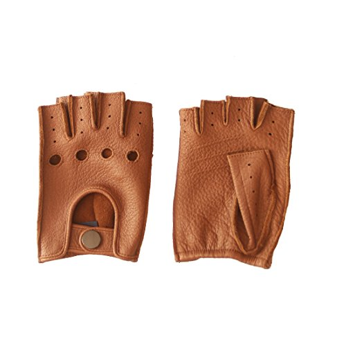 """Nappaglo Women's Deerskin Fingerless Gloves Half Finger Leather Driving Motorcycle Cycling Riding Unlined Gloves (L (Palm Girth:7.5""""-8""""), Sand)"""