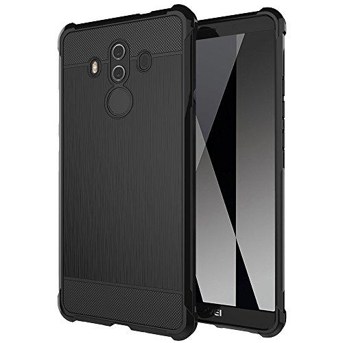 Gosento Huawei Mate 10 Pro Hülle, Soft Flex Shockproof Silikon Case Kohlenstoff Faser Entwurf Schutzhülle Cover für Huawei Mate10 Pro (Schwarz)